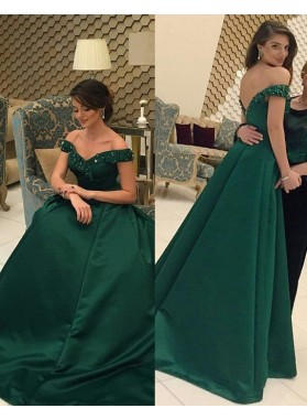 Beading Off-the-Shoulder Floor-Length/Long Zipper A-Line/Princess Satin Prom Dresses