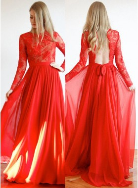 2019 Gorgeous Red Backless Lace Long Sleeve Floor-Length/Long A-Line/Princess Chiffon Prom Dresses