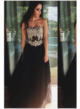Appliques Sweetheart Satin Prom Dresses 2019 Junoesque Black