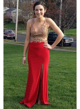 2018 Gorgeous Red Beading Appliques Straps High Slit Satin Prom Dresses