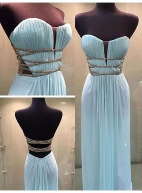 LadyPromDress 2019 Blue Ruching Lace-Up Sweetheart Chiffon Prom Dresses