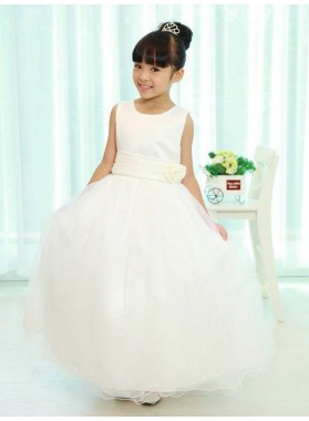 A-line/Princess Scoop Sleeveless Sash/Ribbon/Belt Long Organza First Communion Dresses / Flower Girl Dresses