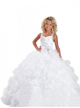 Ball Gown Straps Sleeveless Beading Long Organza First Communion Dresses / Flower Girl Dresses