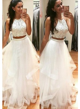 2020 Unique White Beading A-Line/Princess Tulle Two Pieces Prom Dresses