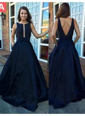 LadyPromDress 2019 Blue Crystal Straps Backless Satin Prom Dresses