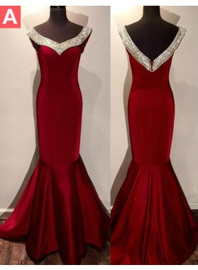 2019 Gorgeous Red Crystal Mermaid/Trumpet Satin Prom Dresses