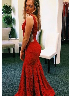 2020 Gorgeous Red V-Neck Backless Mermaid/Trumpet Lace Prom Dresses