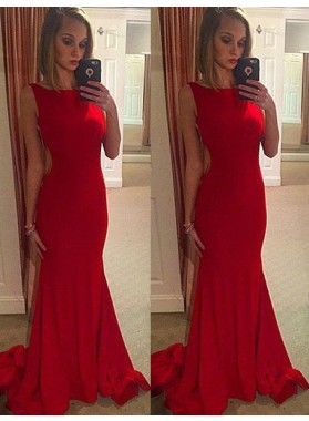 2019 Gorgeous Red Chapel Train Mermaid/Trumpet Stretch Satin Prom Dresses