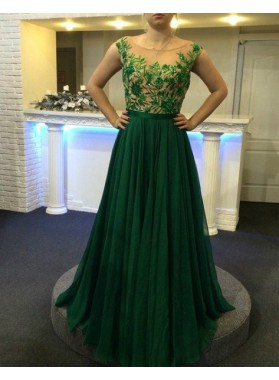 Round Neck Appliques Floor-Length/Long A-Line/Princess Chiffon Prom Dresses