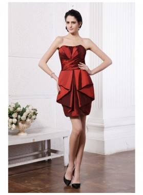 Column Sheath Strapless Sleeveless Pleats Short Taffeta Homecoming Dresses