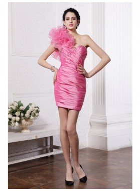 Column Sheath One-Shoulder Sleeveless Beading Ruffles Short Taffeta Homecoming Dresses