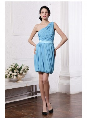 Column Sheath One-Shoulder Sleeveless Pleats Short Chiffon Homecoming Dresses
