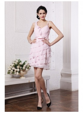 Column Sheath Spaghetti Straps Sleeveless Ruffles Short Chiffon Homecoming Dresses