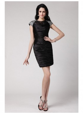 Column Sheath Scoop Short Sleeves Beading Lace Short Elastic Woven Satin Homecoming Dresses
