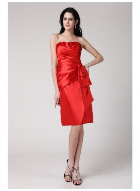 Column Sheath Strapless Sleeveless Pleats Short Elastic Woven Satin Homecoming Dresses
