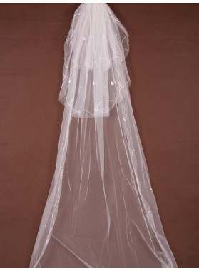 Nice 3 Layer Cathedral With Applique Wedding Veil