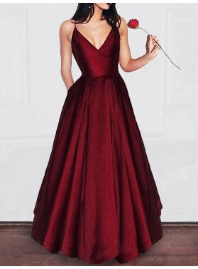 2019 Siren Princess/A-Line Burgundy Satin Prom Dresses