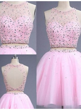 A-Line Princess Sleeveless Scoop Short Beading Tulle Two Piece Homecoming Dresses