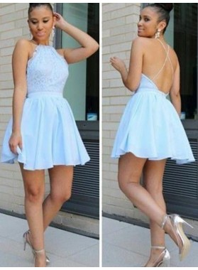 A-Line Princess Halter Sleeveless Lace Short Chiffon Homecoming Dresses