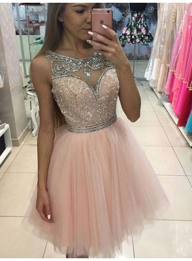 A-Line Princess Sleeveless Scoop Beading Short Tulle Dresses