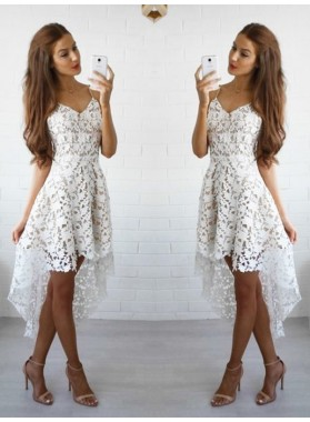 A-Line Princess Sleeveless Spaghetti Straps Lace Short Homecoming Dresses