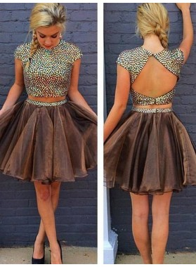A-Line Princess Sleeveless Scoop Beading Short Organza Two Piece Homecoming Dresses