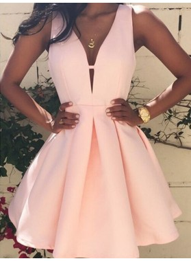 A-Line Princess Sleeveless V-neck Short Satin Homecoming Dresses