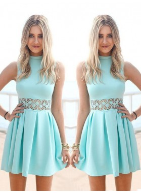 A-Line Princess Sleeveless High Neck Chiffon Short Homecoming Dresses
