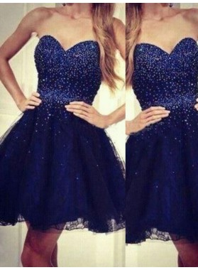 A-Line Princess Sweetheart Sleeveless Beading Short Tulle Dresses