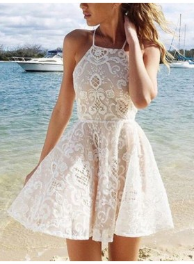 A-Line Princess Sleeveless Halter Lace Spandax Short Homecoming Dresses