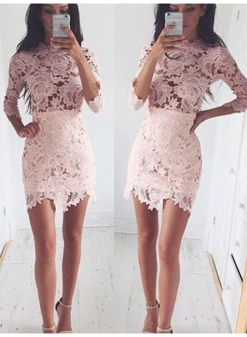 A-Line Princess 1/2 Sleeves Scoop Lace Short Homecoming Dresses