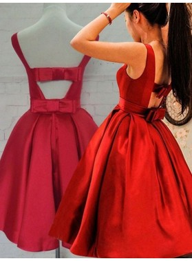 A-Line Princess Sleeveless Scoop Sash Satin Short Homecoming Dresses