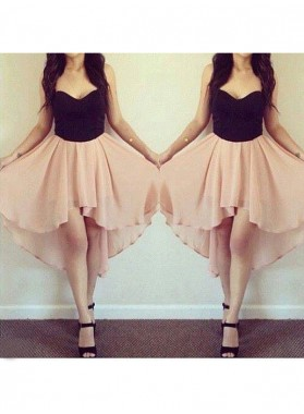 A-Line Princess Sleeveless Sweetheart Chiffon Short Homecoming Dresses