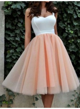 A-Line Princess Sleeveless Sweetheart Tulle Short Homecoming Dresses