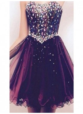 A-Line Princess Sleeveless Sweetheart Rhinestone Tulle Short Homecoming Dresses