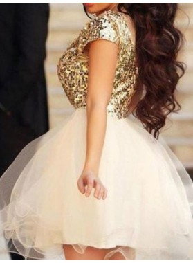 A-Line Princess Sleeveless Scoop Sequin Tulle Short Homecoming Dresses