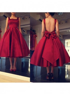 A-Line Princess Sleeveless Square Bowknot Satin Short Homecoming Dresses