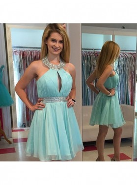 A-Line Princess Sleeveless Halter Beading Chiffon Short Homecoming Dresses
