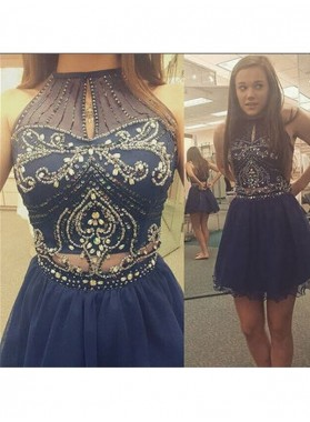 A-Line Princess Sleeveless Scoop Beading Tulle Short Homecoming Dresses