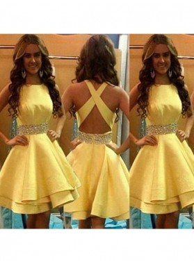 A-Line Princess Sleeveless Scoop Beading Satin Short Homecoming Dresses