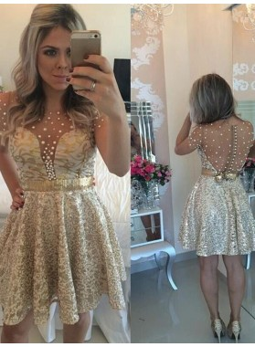 A-Line Princess Sleeveless Scoop Sequin Satin Short Homecoming Dresses