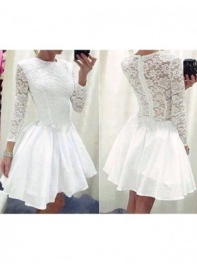 A-Line Princess Long Sleeves Scoop Lace Chiffon Short Homecoming Dresses