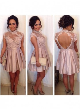 A-Line Princess Sleeveless High Neck Lace Satin Short Homecoming Dresses
