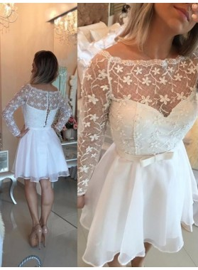 A-Line Princess Long Sleeves Bateau Sash Chiffon Short Homecoming Dresses