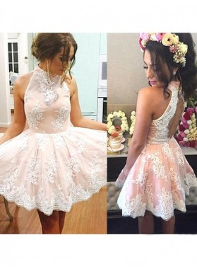 A-Line Princess Sleeveless High Neck Lace Short Homecoming Dresses