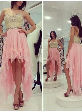 A-Line Princess Sleeveless Sweetheart Beading Chiffon Asymmetrical Dresses