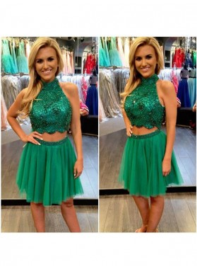 A-Line Princess Sleeveless High Neck Beading Tulle Short Two Piece Homecoming Dresses