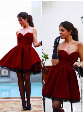 A-Line Princess Sleeveless Sweetheart Satin Short Homecoming Dresses