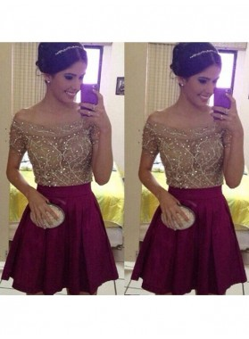 A-Line Princess Short Sleeves Off-the-Shoulder Beading Satin Short Homecoming Dresses