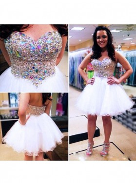 A-Line Princess Sleeveless Sweetheart Beading Tulle Short Homecoming Dresses